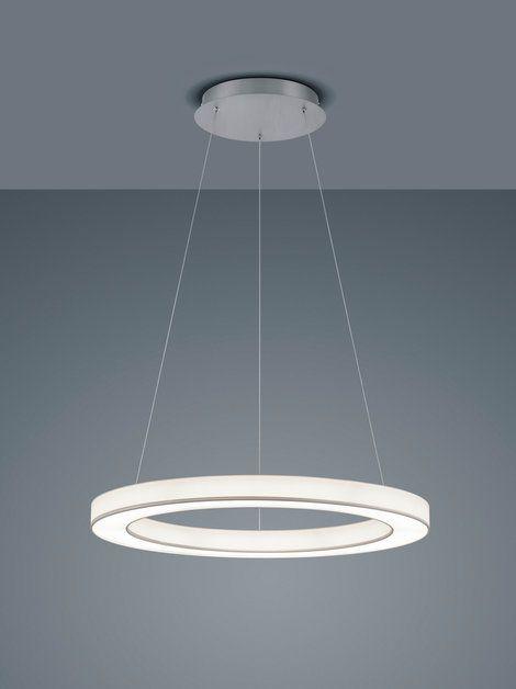 LOMO S LED Hängeleuchte-mattnickel - Stoffschirm weiß von Helestra Leuchten