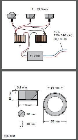 dot-spotmini-disc Einbaulichtpunkt 12 V - 10 mm Einbautiefe50401.827.11