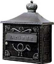 Briefkästen von Albert Leuchten Wandbriefkasten, Alu, schwarz-silber 600700