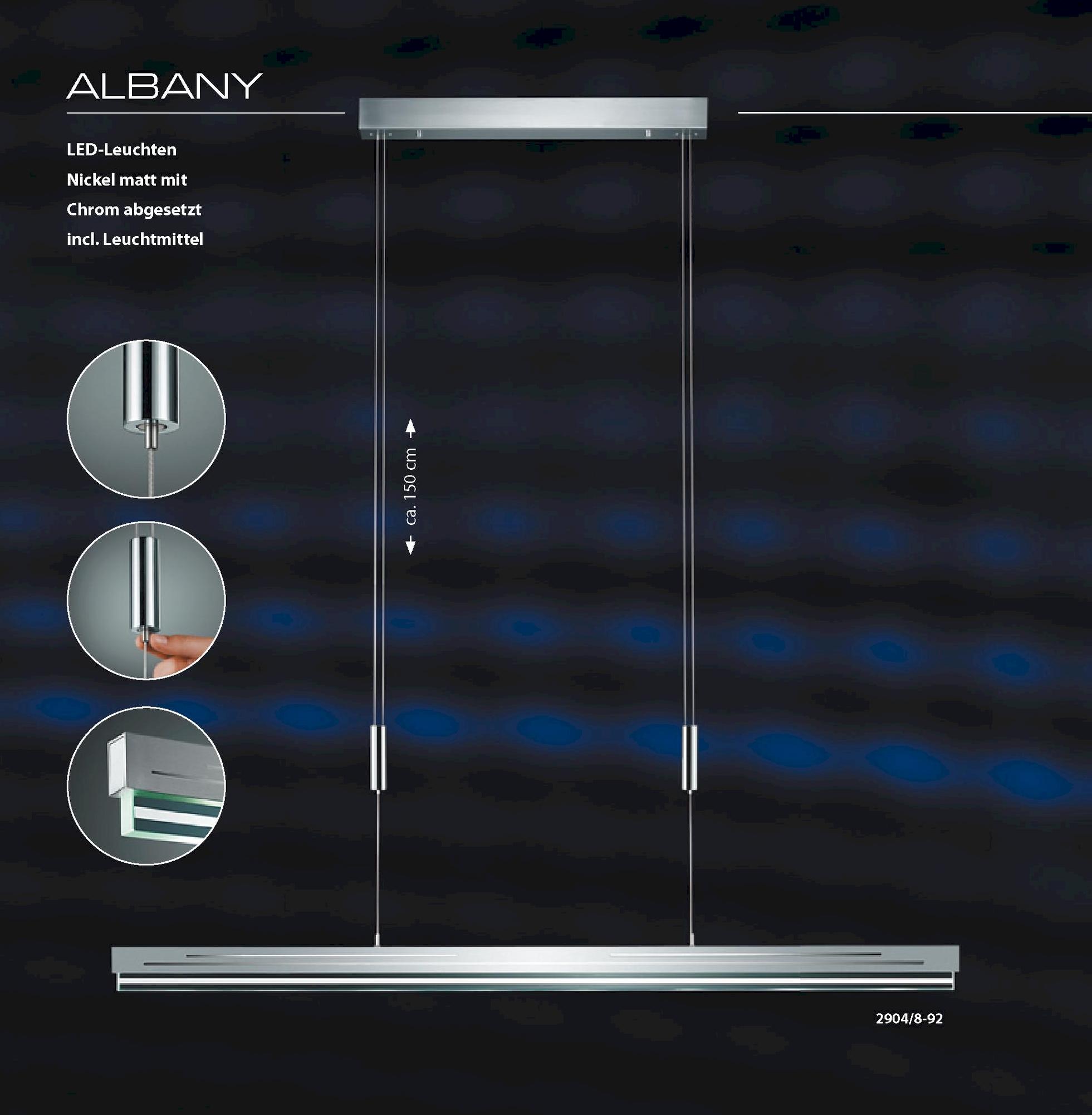 led wohnzimmerleuchten:BANKAMP LED-Hängeleuchte Albany ohne Dimmer höhenverstellbar Nr