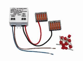 LED-Trafos von dot-spot Netzteil 12 V DC, 6 W, zur Montage in UP-Dose, Set mit Anschlussklemme und Aderendhülsen, für 24 Akzentlichtpunkte, Artikelnummer alt: 2050.99.99.92 90104
