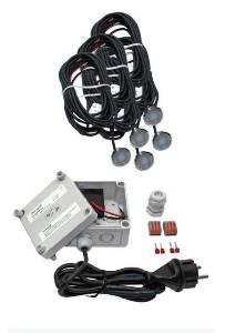 LED-Leuchten von dot-spot 5er Set MiniDisc-Lichtpunkt 12 V, für außen, 5 m PUR- Kabel offen, warmweiß mit Netzteil 25405