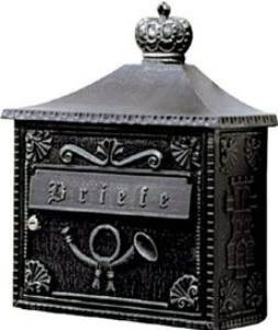 Briefkästen & Zeitungsrollen von Albert Leuchten Wandbriefkasten, Alu, schwarz-silber 600700