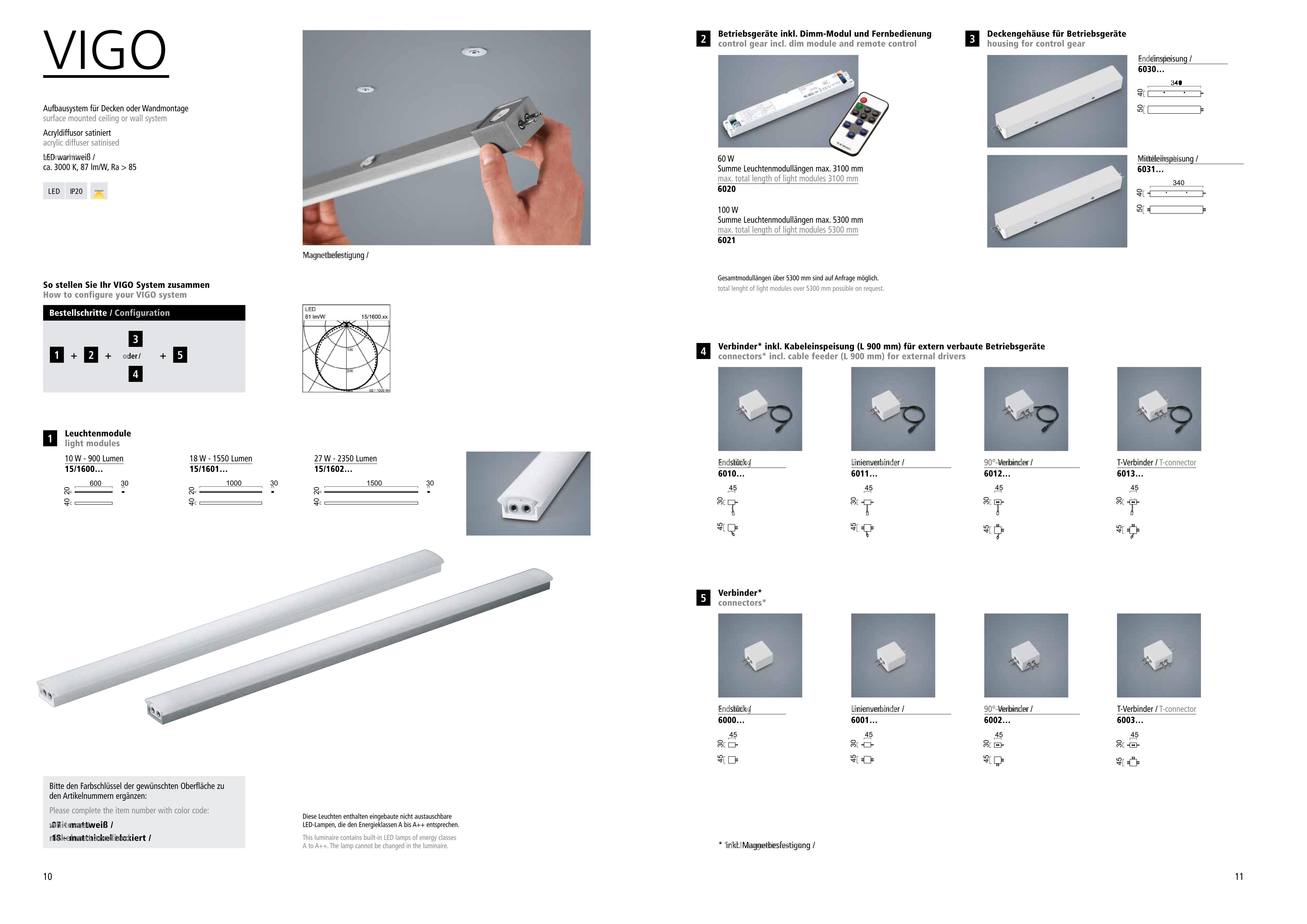 LED-Deckenleuchten von Helestra Leuchten VIGO LED-Betriebsgerät 60 Watt 6020