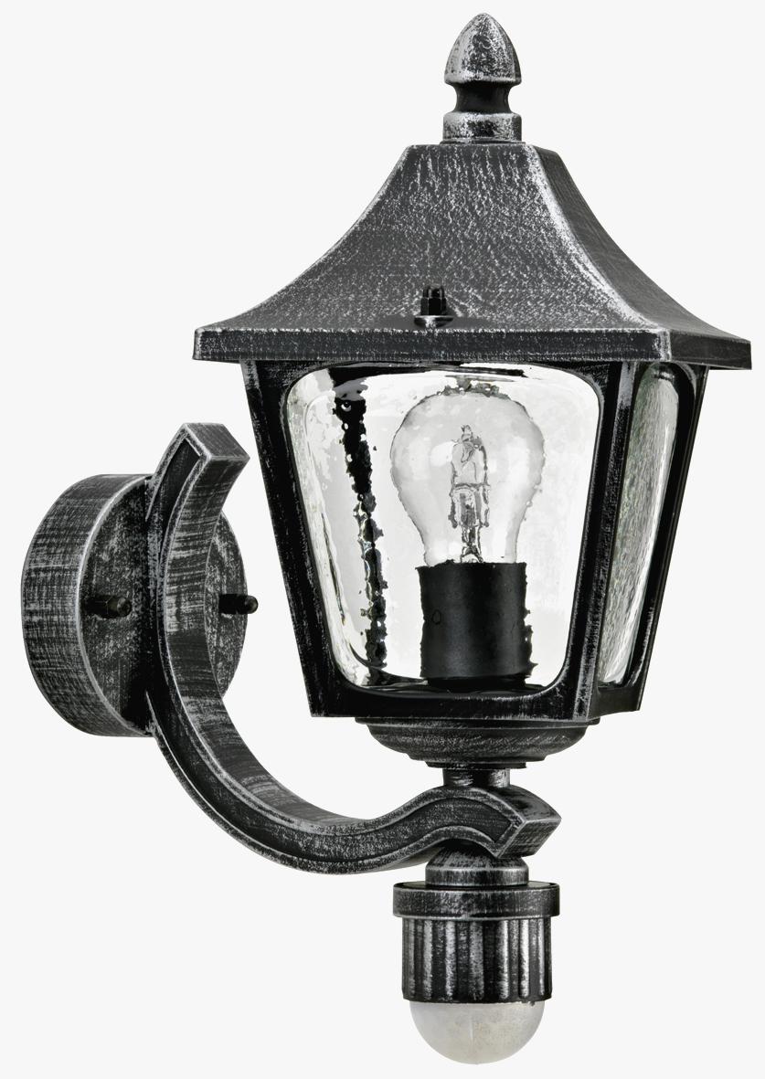 Aussenleuchten von Albert Leuchten Wandleuchte, mit Bewegungsmelder 120°, Alu, schwarz-silber 601822