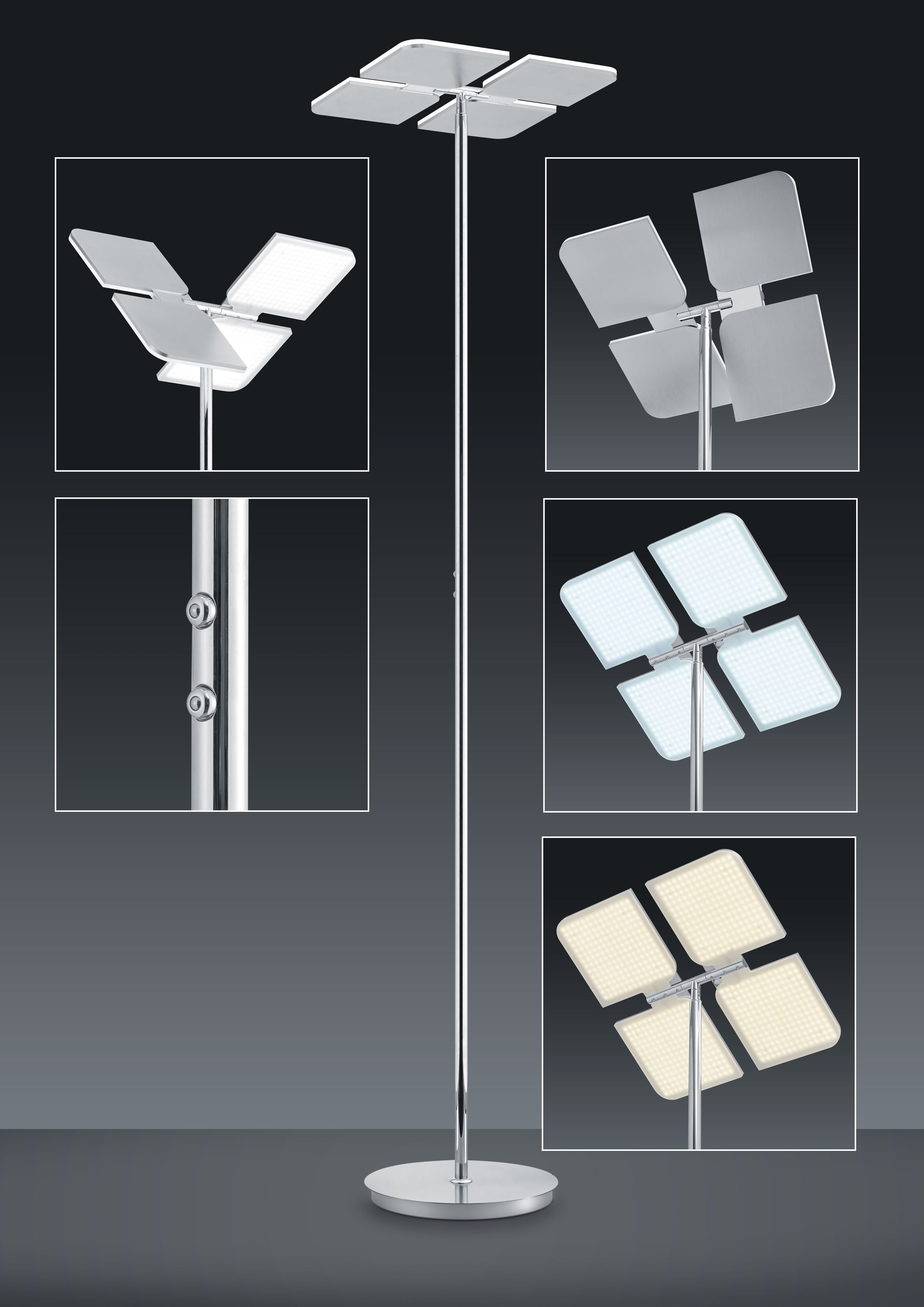 BANKAMP Leuchtenmanufaktur Artikel von BANKAMP Leuchtenmanufaktur LED-Standleuchte Quadrifoglio mit Farbwechsler 6063/1-92